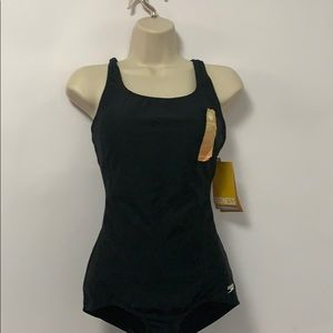 NWT SPEEDO SOFT CUP SWIMSUIT BLACK SIZE 6